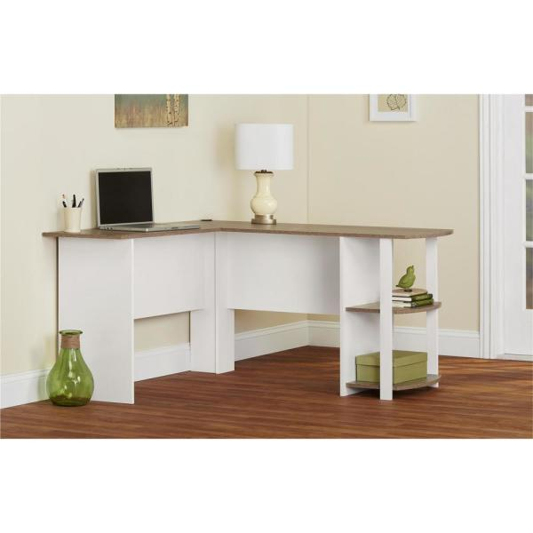 Ameriwood Home 53 6 In L Shaped White Stipple Computer Desks With Cable Management Hd24719 The Home Depot