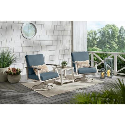 Marina Point White Steel Outdoor Patio Swivel Lounge Chair with Sunbrella Denim Blue Cushions (2-Pack)
