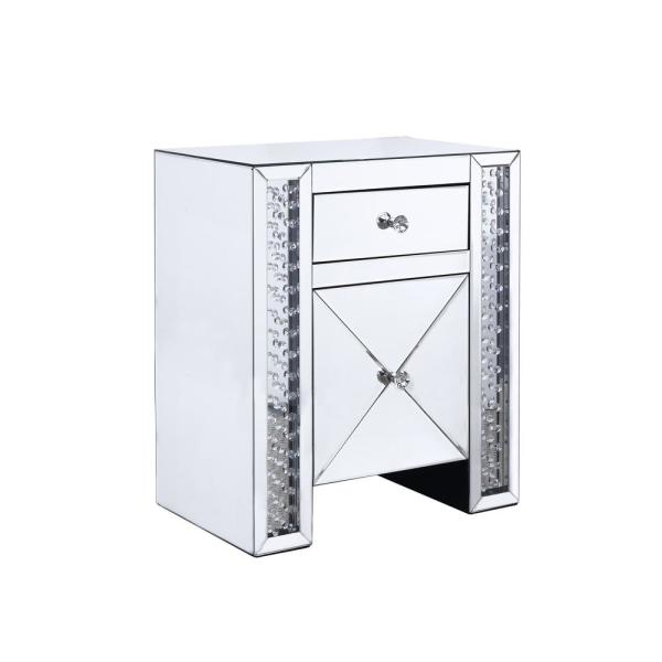 Furniture of America Carson Silver Mirrored 2-Drawer Side Table IDF-533ST-1DR