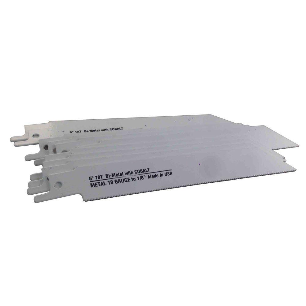 6 in. x 3/4 in. x .035 in. 18 Teeth per in. Metal Cutting Bi-Metal Reciprocating Saw Blade (10-Pack)