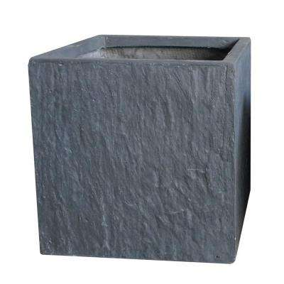 16 in. Slate Grey Cube Fiber-Clay Planter