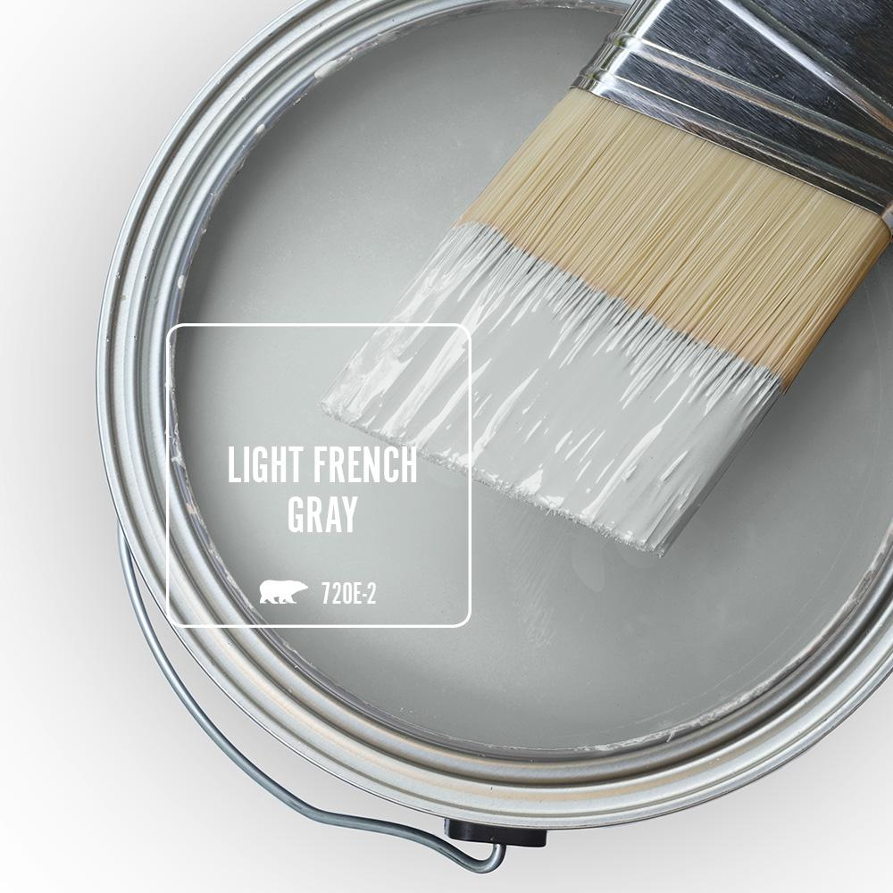 Behr Light French Gray paint color. #behrlightfrenchgray #paintcolors #greypaint #frenchcountry #frenchgrey
