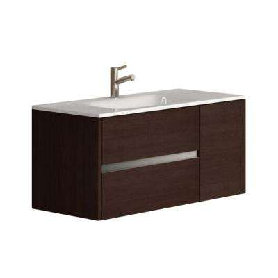 Aries 39 in. W x 18 in. D x 20 in. H Vanity in Wenge (Dark Brown) with Porcelain Top in White with White Basin