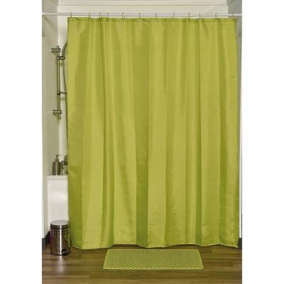 Design S Fabric Polyester Shower Curtain with 12 Matching Rings Lime Green