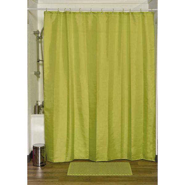 Design S Fabric Polyester Shower Curtain with 12 Matching Rings Lime