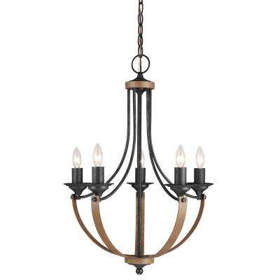 Corbeille 21.5 in. W 5-Light Weathered Gray and Distressed Oak Single Tier Chandelier