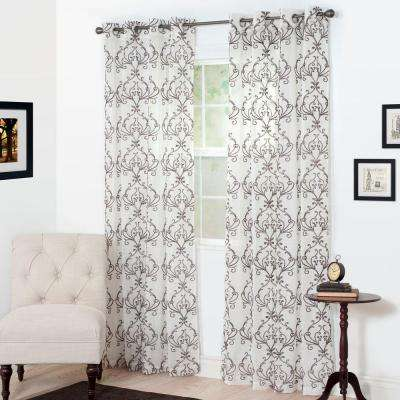 Semi-Opaque Valencia Chocolate Polyester Curtain Panel 54 in. W x 84 in. L
