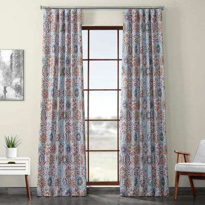 Rio Multi-Colored Printed Linen Textured Blackout Curtain - 50 in. W x 120 in. L (1-Panel)