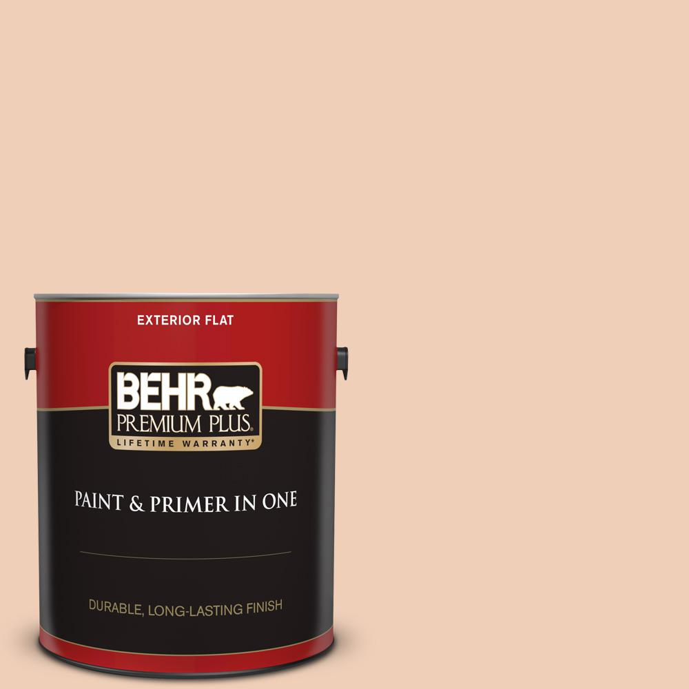 Behr Premium Plus 1 Gal Ppu3 07 Pale Coral Flat Exterior Paint And Primer In One 405001 The Home Depot
