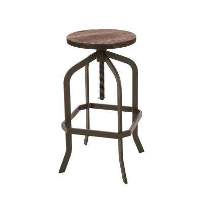 26.18 in. H Rustic Metal Revolving Stool with Elm Wood Seat