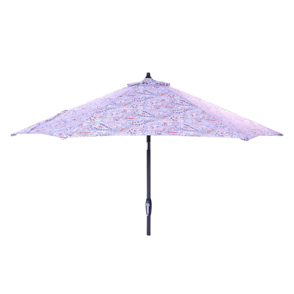 9 ft. Aluminum Market Tilt Patio Umbrella in Denim Paisley
