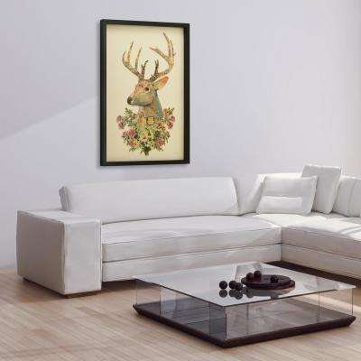 "25 in. x 33 in. ""Mrs. Deer"" Dimensional Collage Framed Graphic Art Under Glass Wall Art"