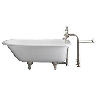 4.5 ft. Cast Iron Ball and Claw Feet Roll Top Tub in White with Brushed Nickel Accessories