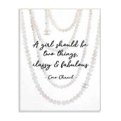 """12.5 in. x 18.5 in. """"Classy and Fabulous Fashion Quote with Pearls"""" by Amanda Greenwood Wood Wall Art"""
