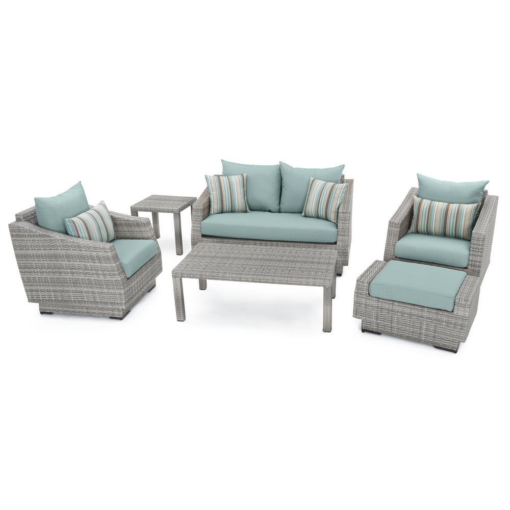 RST Brands Cannes 6-Piece Patio Seating Set with Bliss Blue Cushions