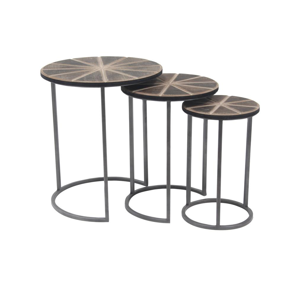 Brown Wheel-Inspired Accent Tables with Gray Frames (Set of 3)