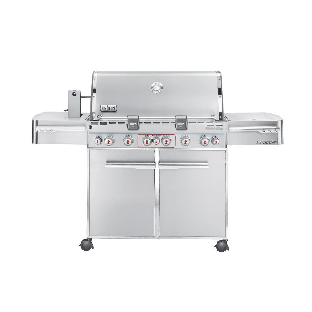 Weber Summit S-670 6-Burner Propane Gas Grill in Stainless Steel with Built-In Thermometer and Grill Light