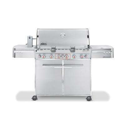 Summit S-670 6-Burner Propane Gas Grill in Stainless Steel with Built-In Thermometer and Rotisserie