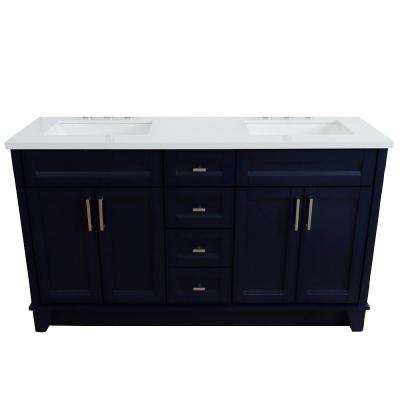 61 in. W x 22 in. D Double Bath Vanity in Blue with Quartz Vanity Top in White with White Rectangle Basins