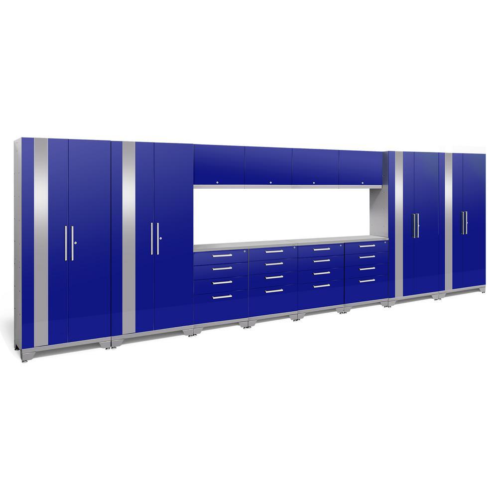 Performance 2.0 72 in. H x 216 in. W x 18 in. D Garage Cabinet Set in Blue (14-Piece)