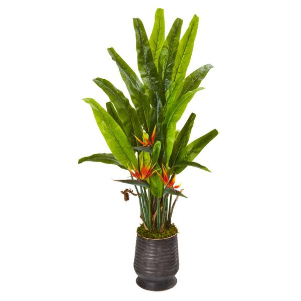 62 in. Bird of Paradise Artificial Plant in Decorative Planter