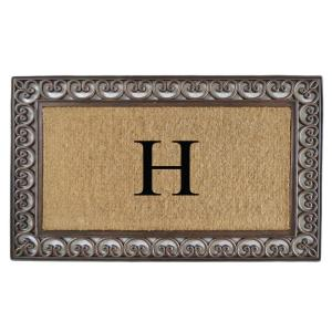 A1HC First Impression Classic Paisley Border 30 inch x 48 inch Rubber and Coir Double Monogrammed H Door Mat by