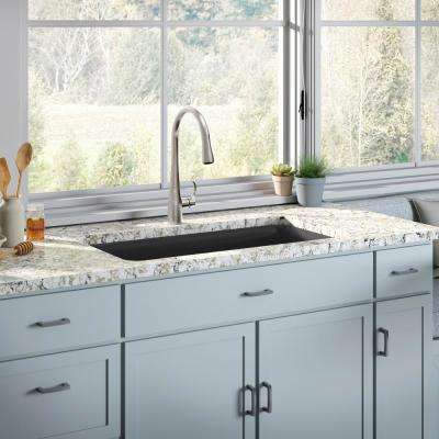 single bowl kitchen sink in matte black with simplice faucet - Kohler Kitchen Sinks