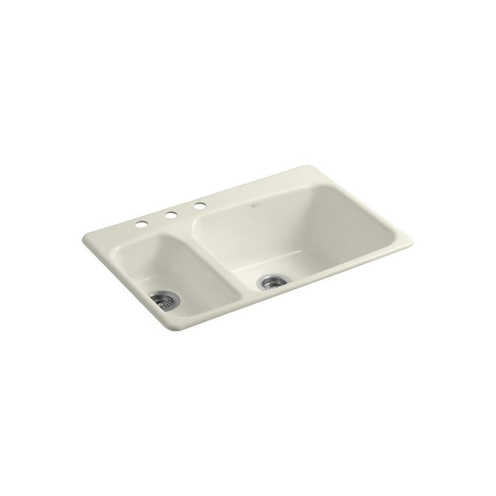 KOHLER Lakefield Self-Rimming Cast Iron 33x22x10.25 3-Hole Kitchen Sink in Biscuit-DISCONTINUED