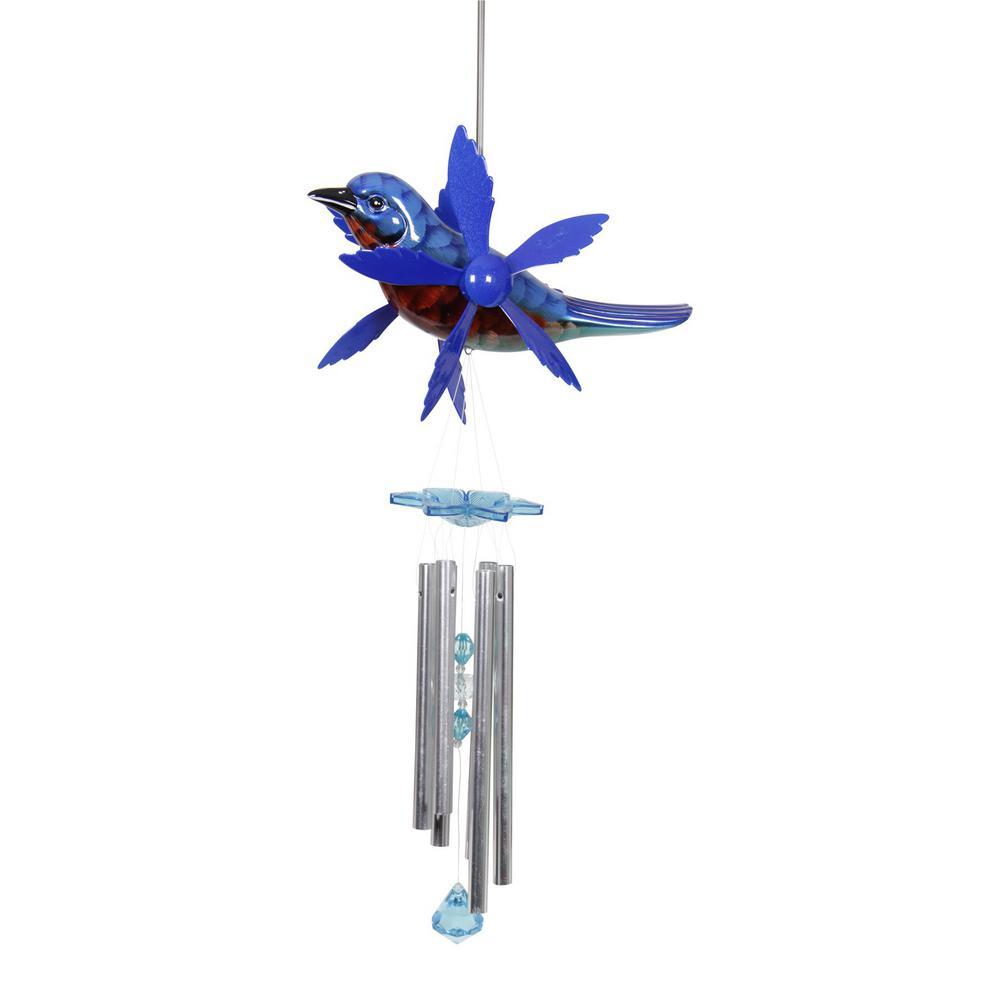 Large Blue Bird Whirligig Wind Chime