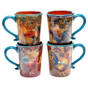 Rustic Rooster 16 oz. Mug (Set of 4) by