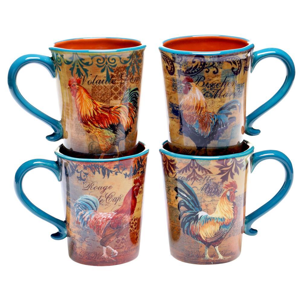 Rustic Rooster 16 oz. Mug (Set of 4)