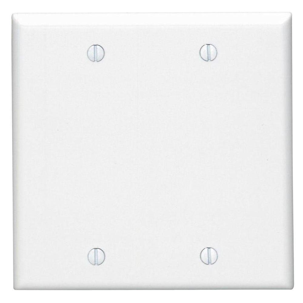 White 2 Gang Blank Plate Wall