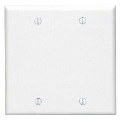 2-Gang Blank Wall Plate, White