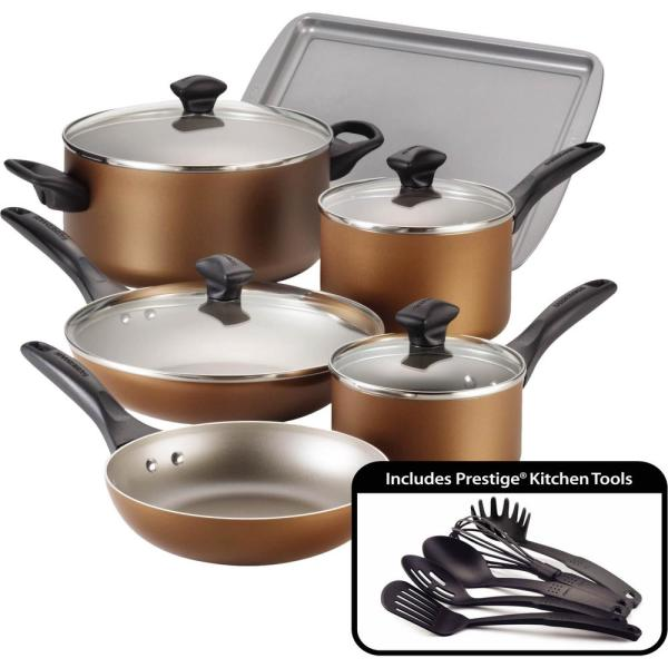 Farberware 15-Piece Copper Cookware Set with Lids 21890