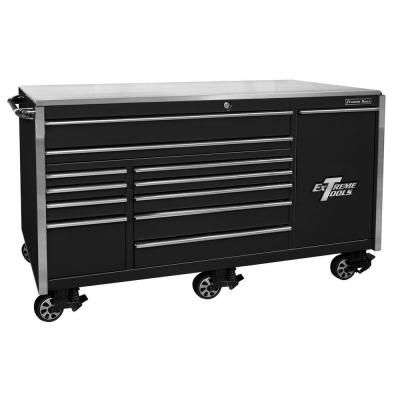 76 in. 12-Drawer Professional Roller Cabinet Includes Vertical Power Tool Drawer & Stainless Steel Work Surface in Black