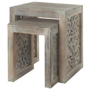 Maharaja Sandblasted White 2 Piece Nesting End Table