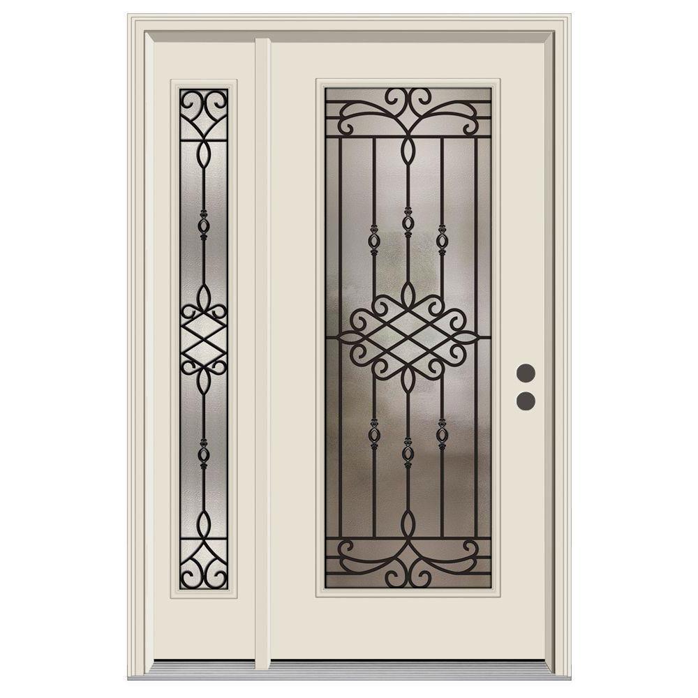 52 in. x 80 in. Full Lite Sanibel Primed Steel Prehung Left-Hand Inswing Front Door with Right-Hand Sidelite
