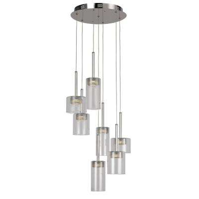 7-Light Polished Chrome Interior LED Pendant with Clear Glass