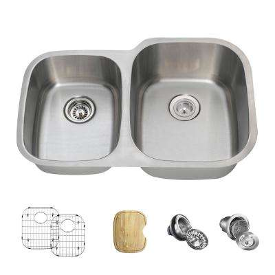 All-in-One Undermount Stainless Steel 32 in. Right Double Bowl Kitchen Sink