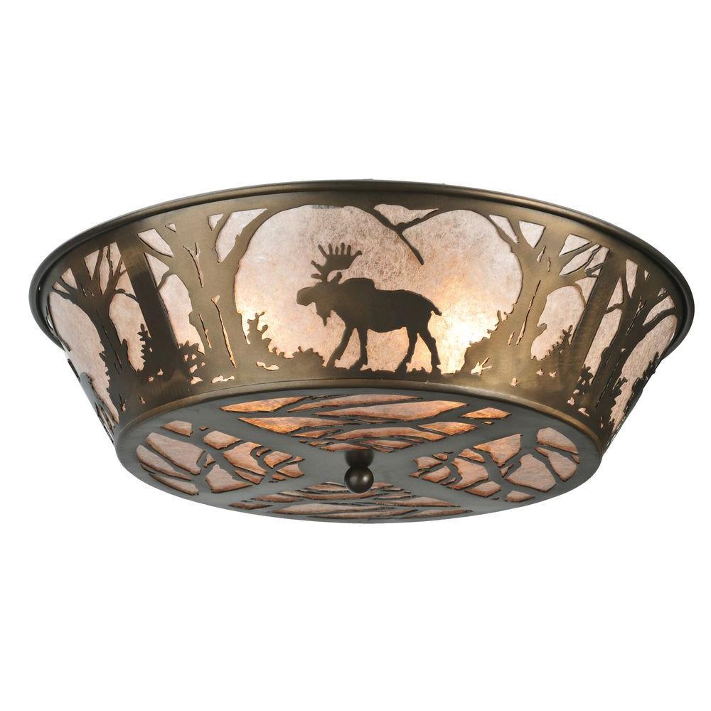 Illumine 4 Light Moose Flushmount Mica Glass Antique Copper Finish