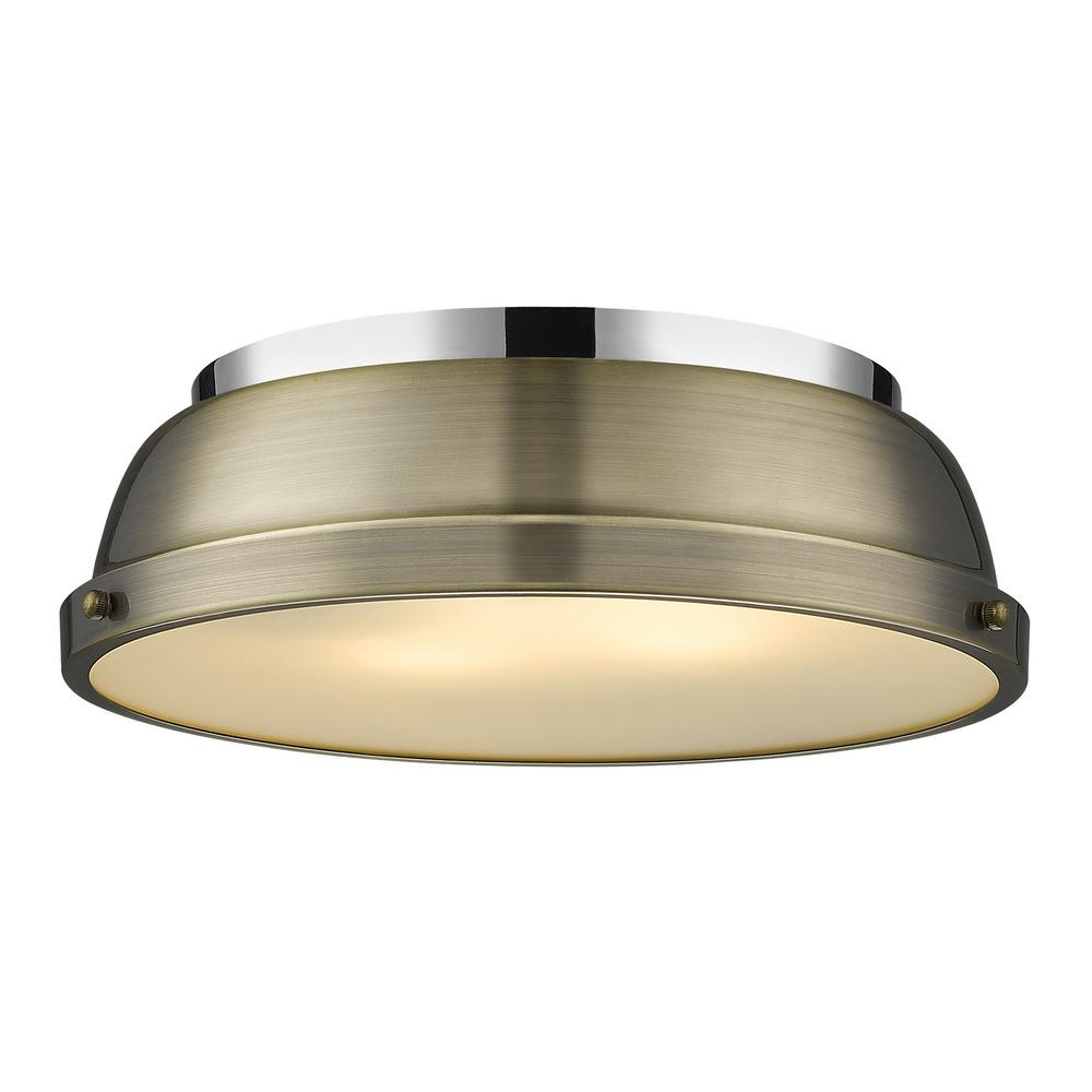 Duncan 14 in. Flush Mount in Chrome with an Aged Brass Shade