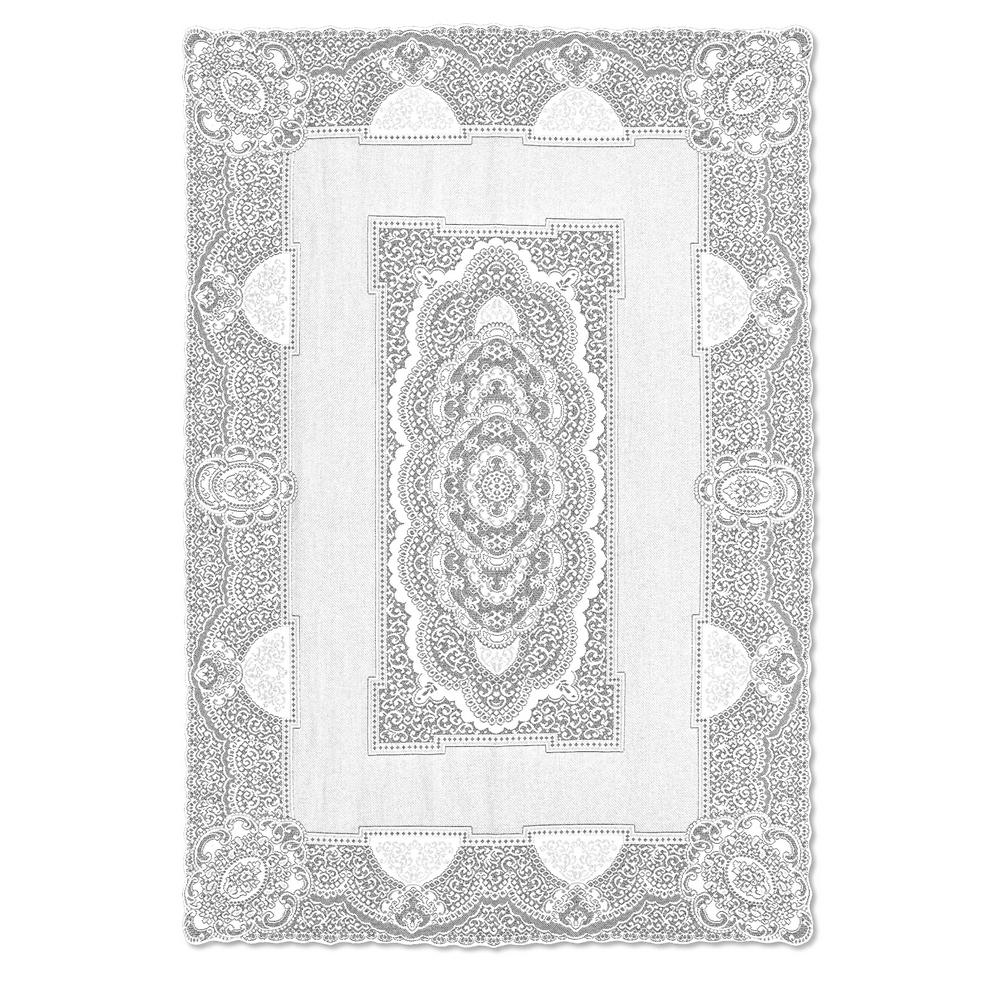 Heritage Lace Canterbury Clic Rectangle White Cotton Tablecloth Cc 70108rw The Home Depot