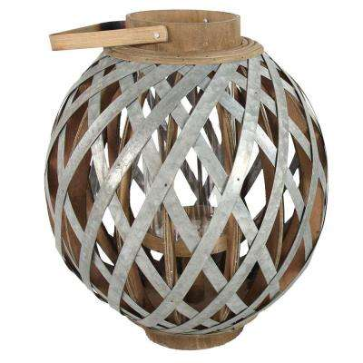 14 in. x 16.5 in. Wood and Iron Decorative Lantern