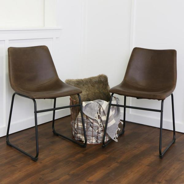 Walker Edison Furniture Company Wasatch Brown Faux Leather Dining Chair (Set of 2)