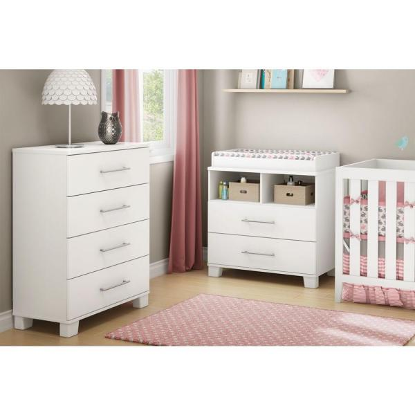 White South Shore Cuddly Changing Table with 2 Drawers and open Storage Space