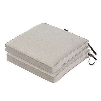Montlake FadeSafe 20 in. L x 20 in. W x 2 in. Thick Heather Grey Square Outdoor Seat Cushion (2-Pack)