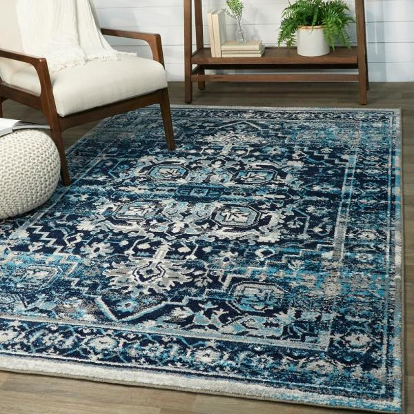 Balta Adeline Distressed Boho Oriental Navy 5 Ft X 7 Ft Area Rug 3007169 The Home Depot