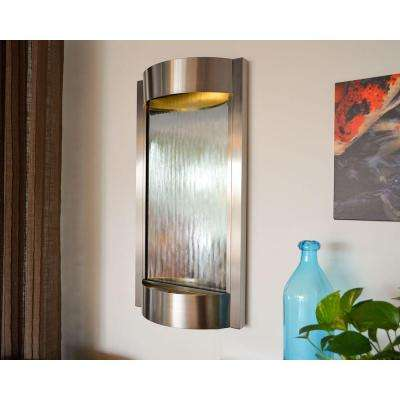 36 in. H Wall Fountain Silver Mirror with Brushed Stainless Steel