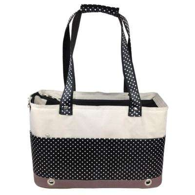 Black and White Fashion Tote Spotted Pet Carrier - Medium