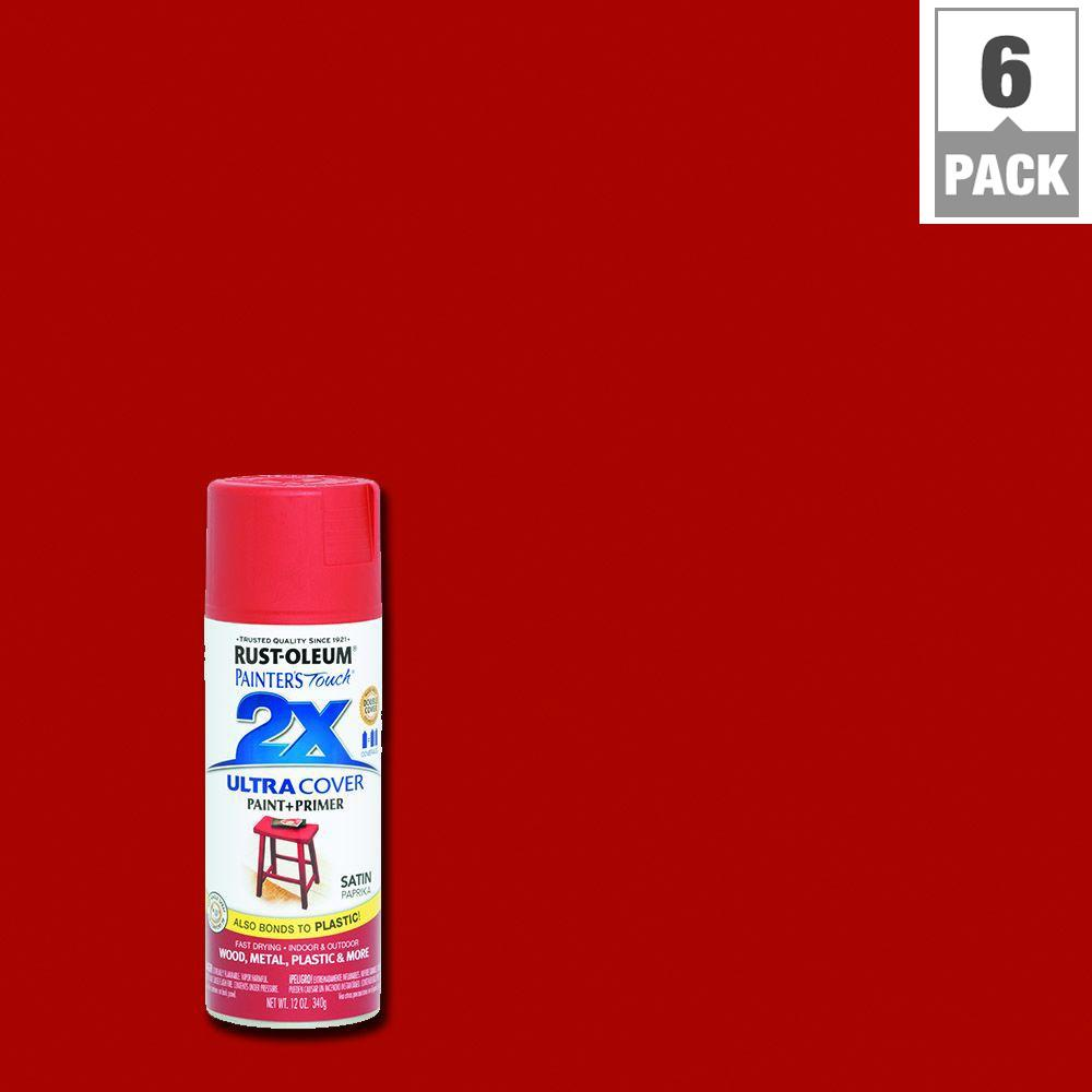 Rust-Oleum Painter's Touch 2X 12 oz. Satin Paprika General Purpose Spray Paint (6-Pack)